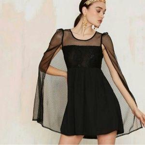 NWT NASTY GAL Cape Bod Black Lace Dress